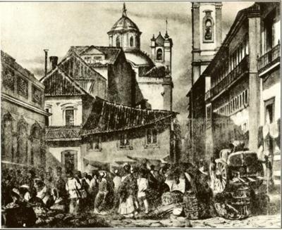 Rua do Ouvidor - Imagem do álbum de gravuras O Rio de Janeiro Pitoresco, de Louis-Auguste Moreaux e Abraham-Louis Buvelot
