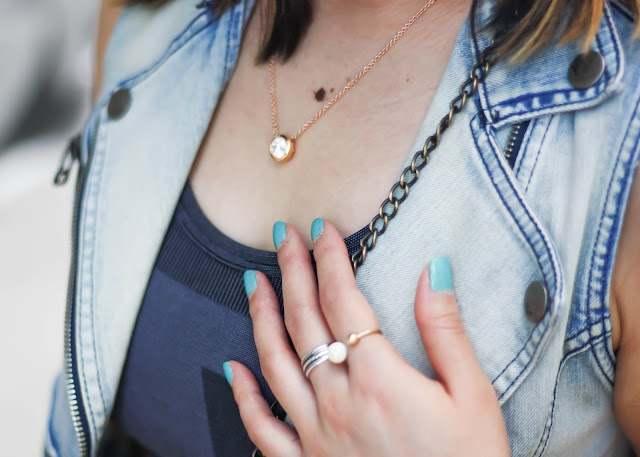 Diamond Necklace and Denim Vest
