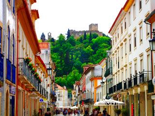 Main Street Rua Sepa Pinto Looking to Convento de Cristo Tomar Portugal
