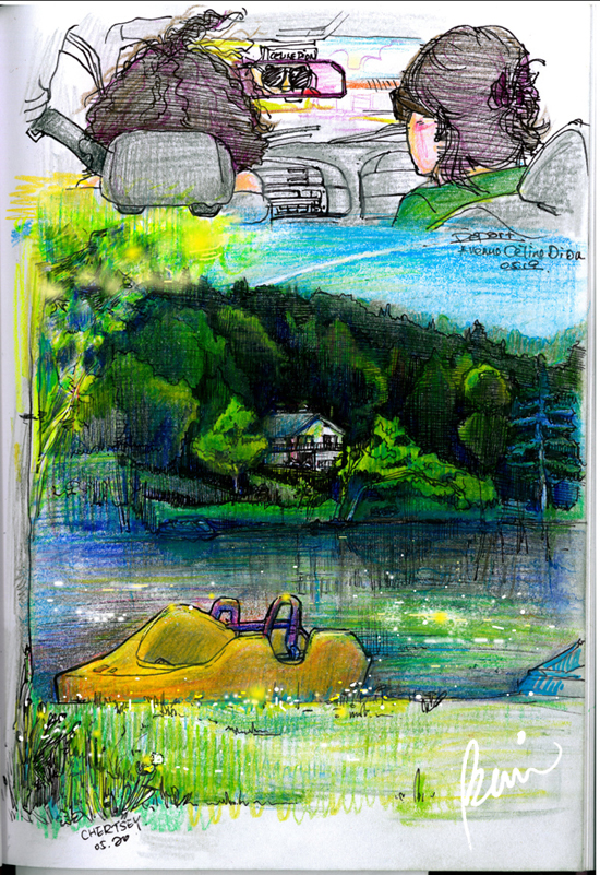 urban live sketch of cottage lifestyle with summer lake view in Chertsey chalet Quebec