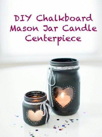 Chalkboard Mason Jar Candle Centerpiece. Foto: hative.com