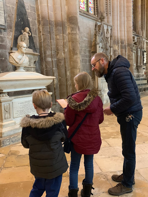 Family enjoying Gloucester Cathedral Discovery Trail