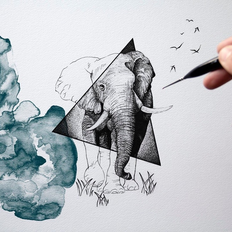 07-Elephant-and-Birds-Surreal-Animals-Mostly-Ink-Drawings-www-designstack-co