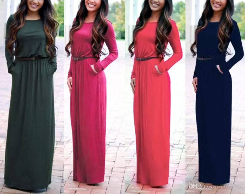 DHL FREE Fashion Women Long Sleeve Lady Maxi Dress Long Floor-Length Elegant dresses Women Autumn Casual Maxi Dresses with Belt