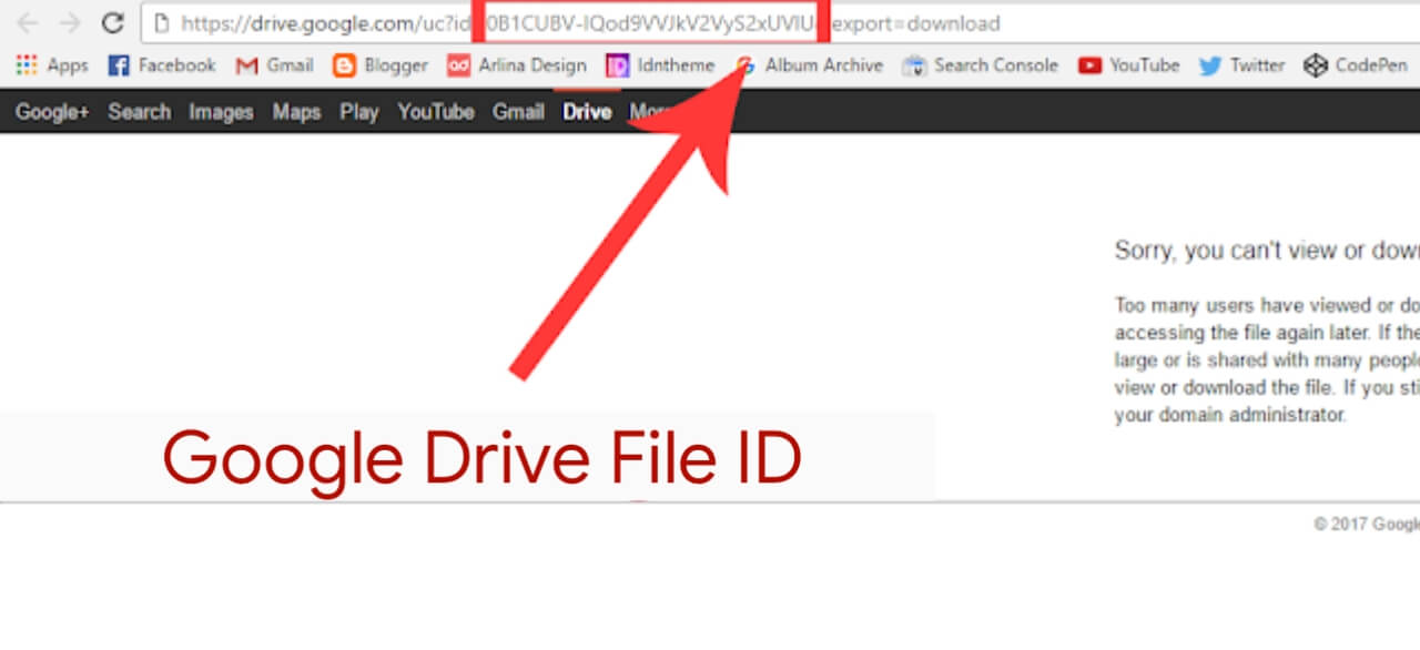 Copy the ID code of the file