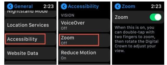 Aktifkan fitur Zoom di Apple Watch