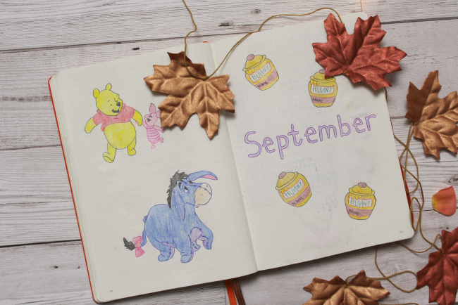 Winnie the Pooh themed bullet journal spreads - www.nourishmeblog.co.uk