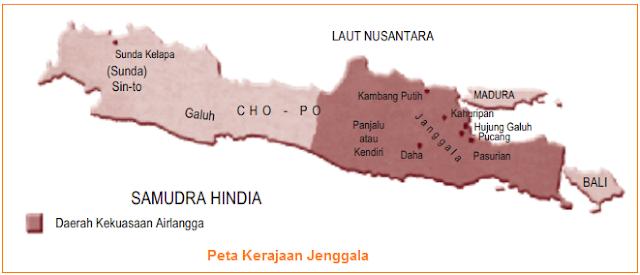 Peta Kerajaan Jenggala - kekuasaan Raja Airlangga