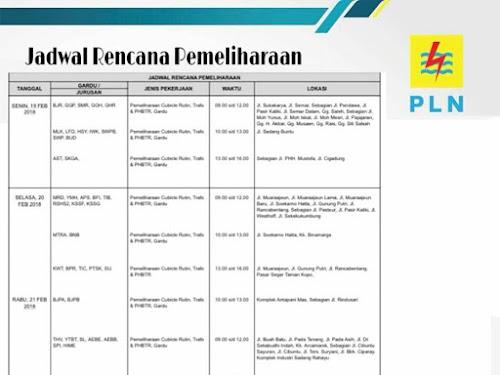 Jadwal pemeliharaan lsitrik area Bandung