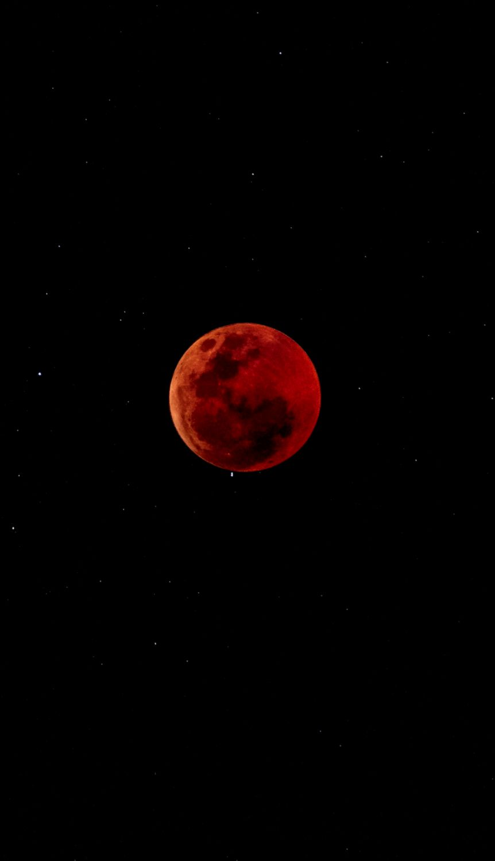 Download wallpaper 938x1668 full moon eclipse red moon fiery