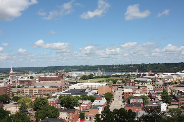 View of Dubuque from atop a bluff after riding the incline.