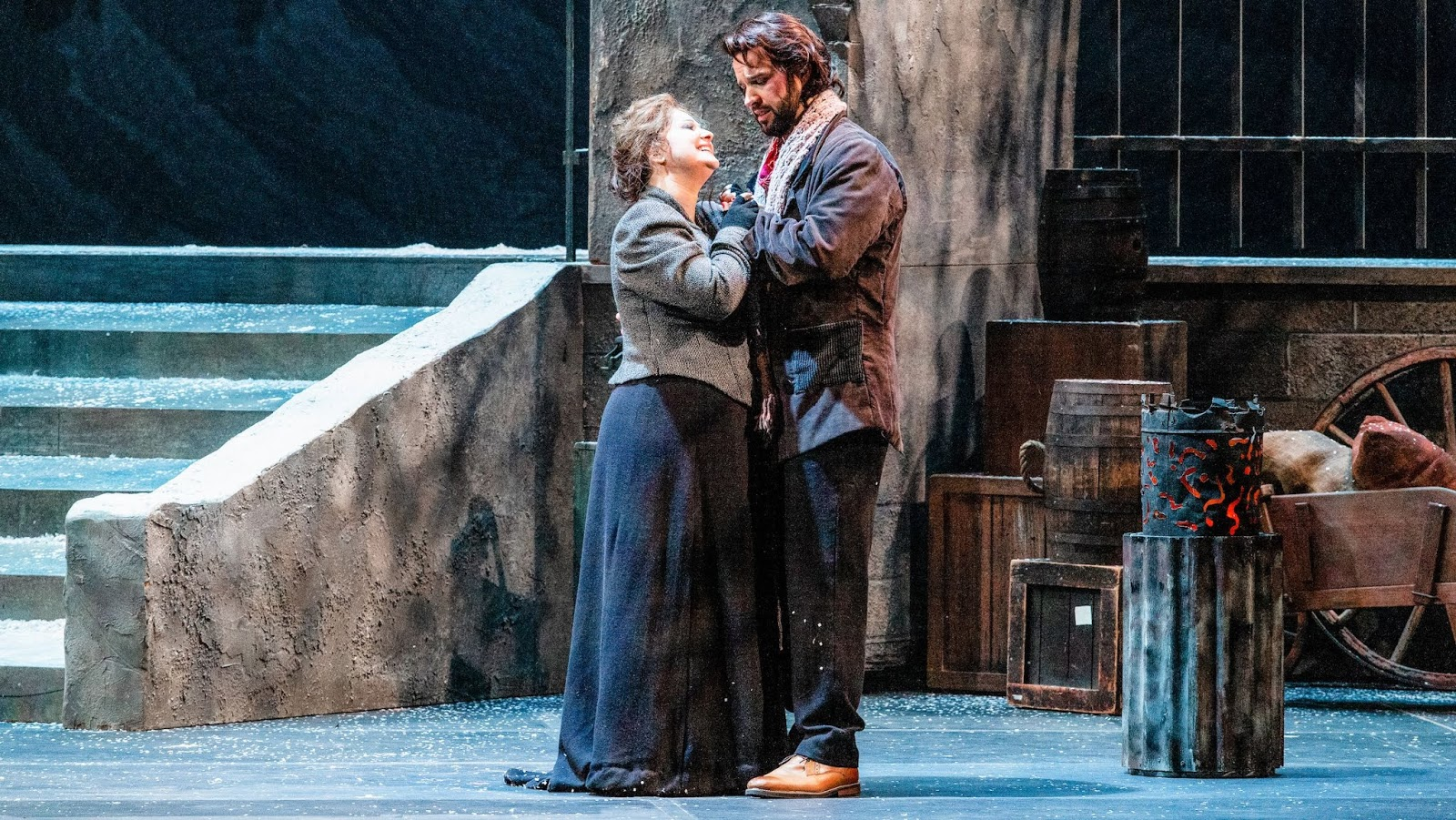 IN REVIEW: soprano STEFANNA KYBALOVA as Mimì (left) and tenor ADAM SMITH as Rodolfo (right) in Opera Carolina's January 2020 production of Giacomo Puccini's LA BOHÈME [Photograph by Mitchell Kearney, © by Opera Carolina]