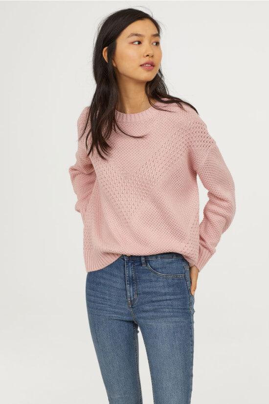 H&M textured knit cotton sweater