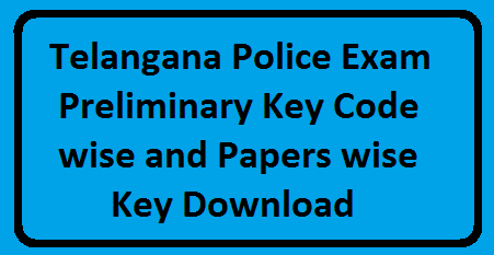 Telangana Police Exam Code Key Wise A, B, C and D, Paper 1 key and Paper 2 key with Answers and Expected Cut Off Marks. Police AR/SARCPL/ TSSP/ SPF/ Firemen Police Jobs Exam Key. Telangana State Level Police Recruitment Board (TSLPRB) successfully conducted written examination for the recruitment of Police Constable posts on 25-04-2016 at https://www.tslprb.in/. /2016/04/telangana-police-exam-preliminary-key-code-wise-paper-wise-key-download.html