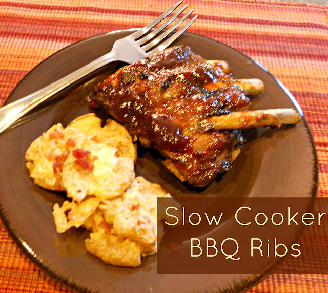 Slow Cooker BBQ Ribs served with Crispy Smashed Potatoes
