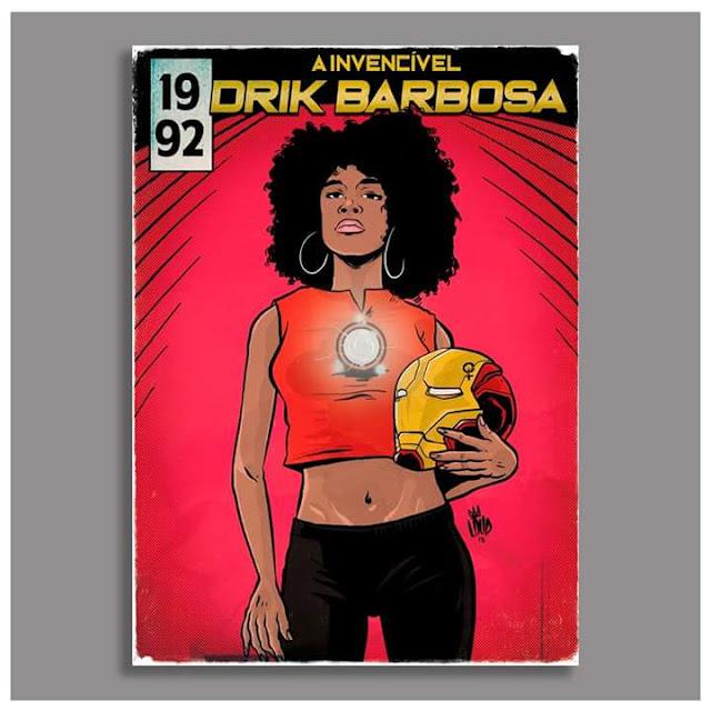 Drik Barbosa é retratada como Riri Willians vulgo Coração de Ferro, a nova heroína da Marvel.