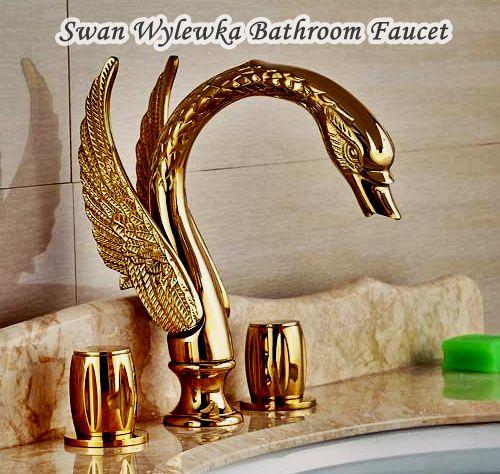 Kran Swan Wylewka Unlacquered Brass Bathroom Faucet