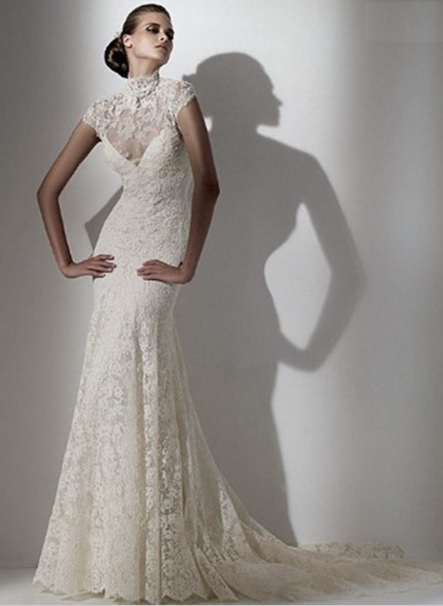 lace slim wedding dress 2016