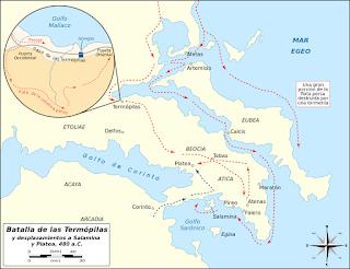Movimientos persas y griegos durante las batallas de las Termópilas, Salamina y Platea.