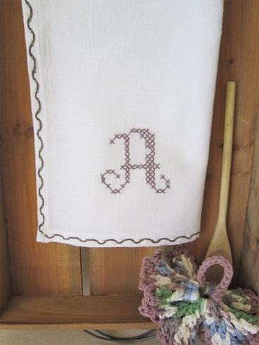 Threaded Running Stitch Monogrammed Dishtowel