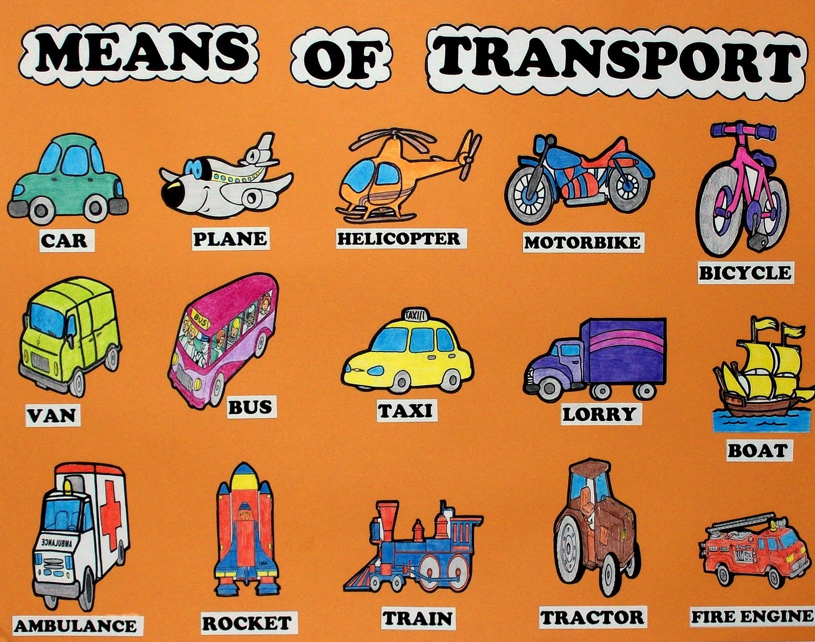 English Is Everywhere Vocabulary Means Of Transport