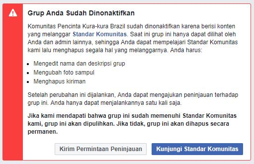 Pengalaman Grup Facebook Dinonaktifkan