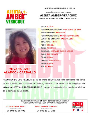 Activan Alerta Amber para Yovana Lizet Alarcon Carballo en Xalapa