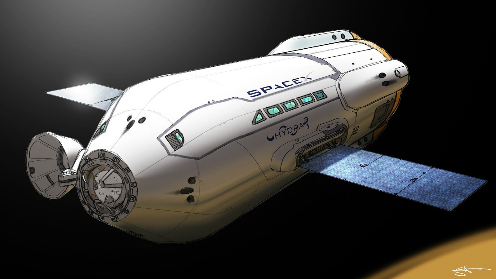 SpaceX Mars Colonial Transporter concept by Stanley Von Medvey