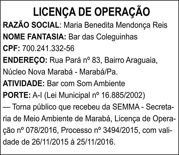 LICENÇA DE OPERAÇÃO - MARIA BENEDITA MENDONÇA REIS