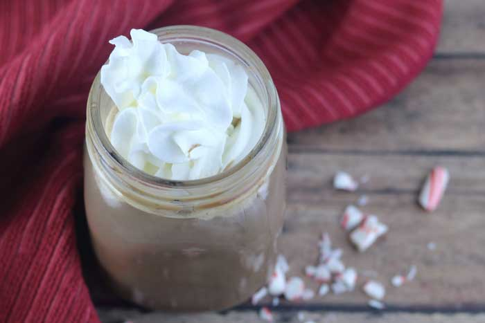 This pepermint mocha recipe is a skinny version of your favorite coffee house drink.  This skinny coffee drinks can be made with your choice of milk and sweetener.  This skinny peppermint mocha recipe can be made in about 10 minutes at home with no special equipment.  This diet coffee drink has fewer calories, fat, and carbs versus buying the drink at the popular chain.  Healthy coffee drinks can still be yummy!  #peppermintmocha #coffee #skinnycoffee #coffeedrink #peppermintcoffee
