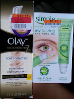 "OLAY tone correcting moisturizer review sunscreen SIMPLE sensitive skin care ""revitalizing eye roll-on"""