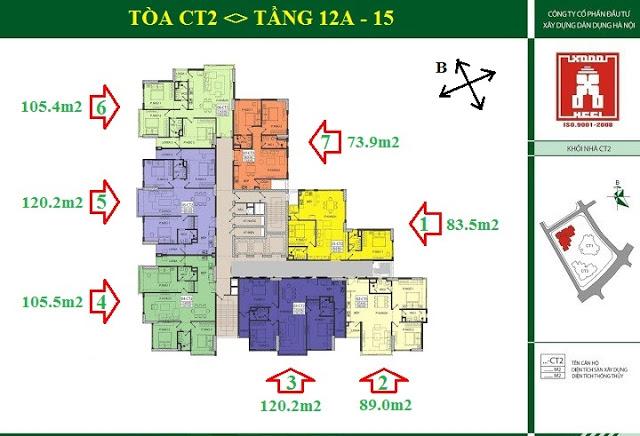 Mặt bằng tòa CT2 E4 Yên Hòa - Tầng 12A - 15.