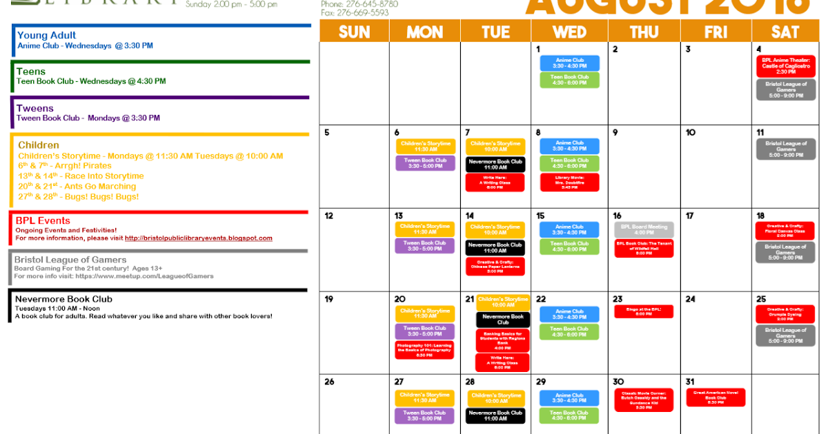 events at the bristol public library calendar of events