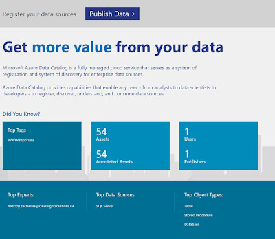 Azure Data Catalog – The dashboard