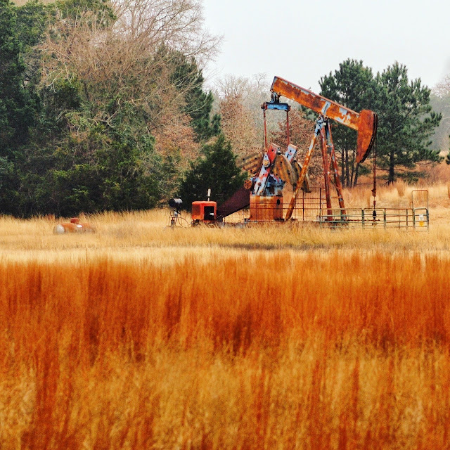 Rusty pumpjack in a grassy field in Texas
