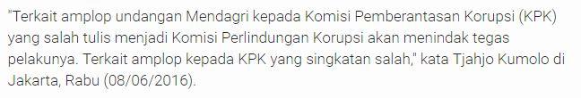 """Karena Salah Ketik Singkatan KPK """" Komisi Perlindungan Korupsi"""" Mendagri Ancam Pecat Stafnya - Commando"""