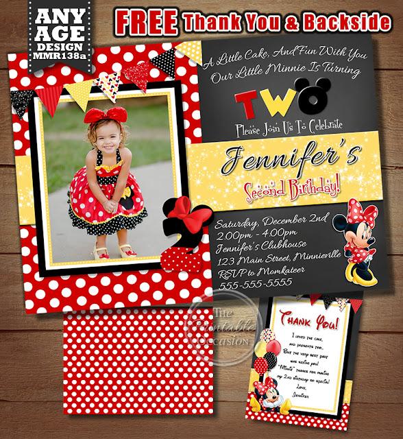 Red Minnie Mouse Birthday Invitation Polka Dot Chalkboard