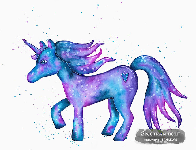 Watercolour Unicorn by Sam Lewis AKA The Crippled Crafter. Featuring Spectrum Aqua Markers.