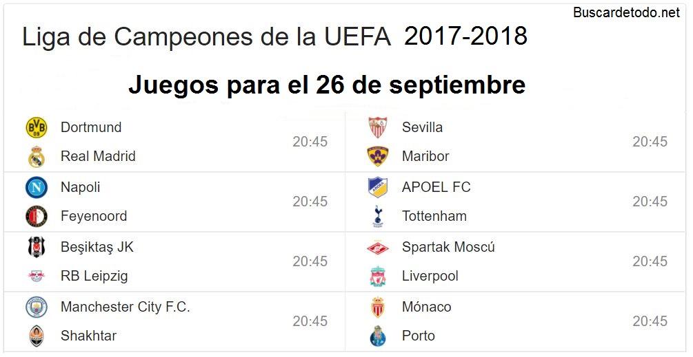 3- Calendario de juegos de la Champions League 2017-2018. Juegos de la Champions League el 26 de septiembre 2017
