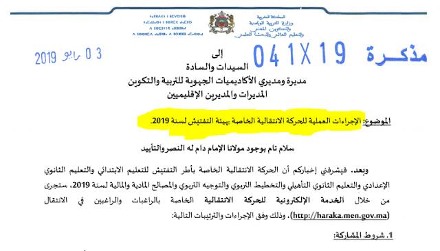 الاجراءات العملية للحركة الانتقالية الخاصة بهيئة التفتيش لسنة 2019