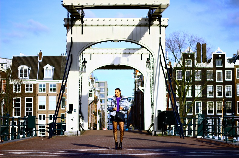 Tamara Chloé, Quilted Puffer Jacket, Ultra violet sweater, Michael Kors camera Bag, Dr Martens Persephone Arcadia boots, Amsterdam, Skinny bridge