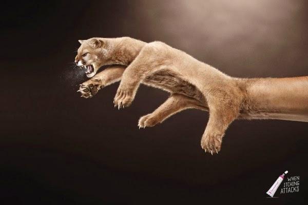Puma hecho con arte digital para anuncio publicitario impreso.