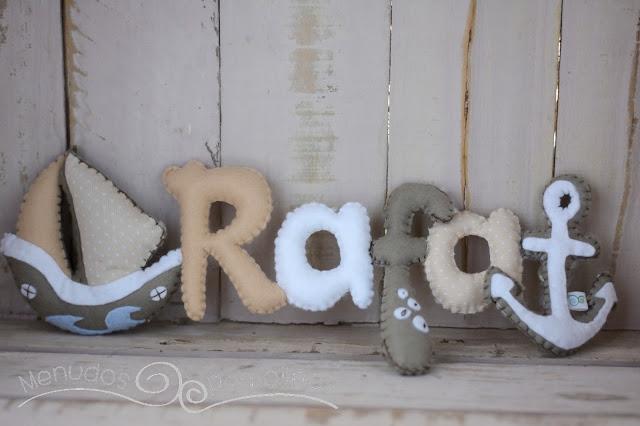 Nombre decorativo para bebé barco y ancla
