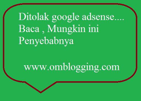 Faktor penolakan dari Google Adsense