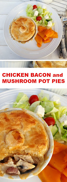 Hearty, comforting Chicken Pot Pies with Bacon and Mushrooms in a creamy sauce #PotPies #ChickenPie #ChickenPotPie