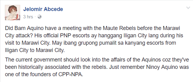 Bam Aquino recently visited Marawi City before the Maute group attack?