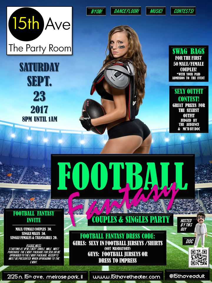 Football Fantasy Party at 15th Ave. Adult Theater in Chicago