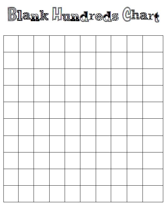 Calendar Organization Number : Number names worksheets blank hundreds chart template