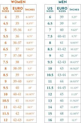 crochet slipper size chart adult