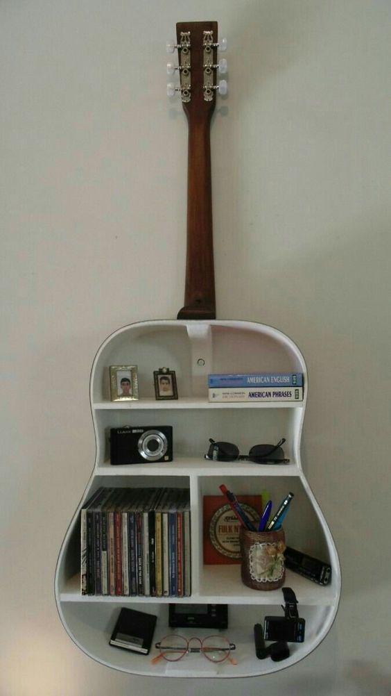 Scrapped Guitar Wall Book Shelf Idea - Image: Pinterest Community